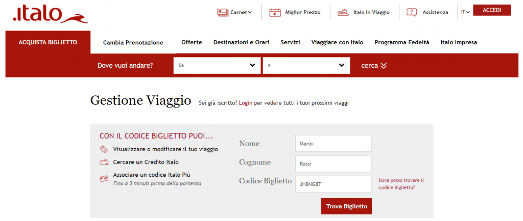Rimborso Italo Treno - Gestione Viaggio