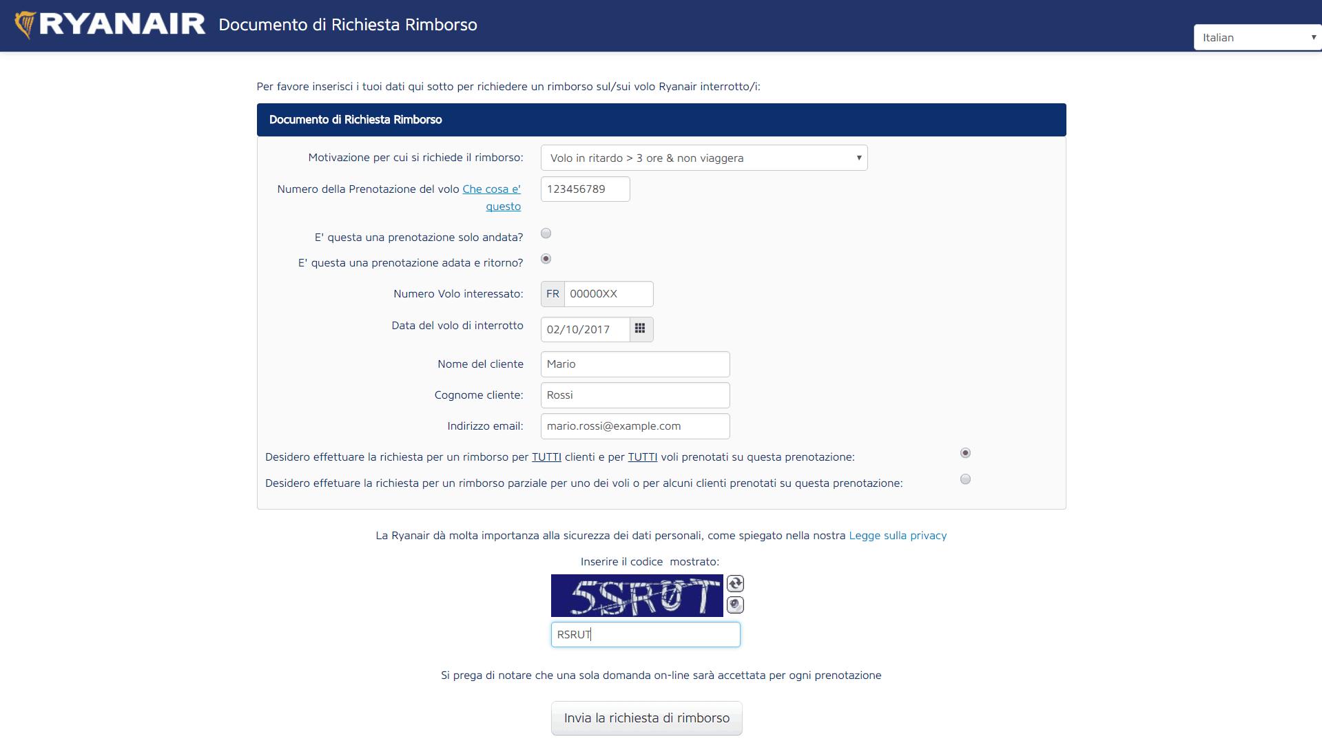 Rimborso Ryanair - Modulo Online